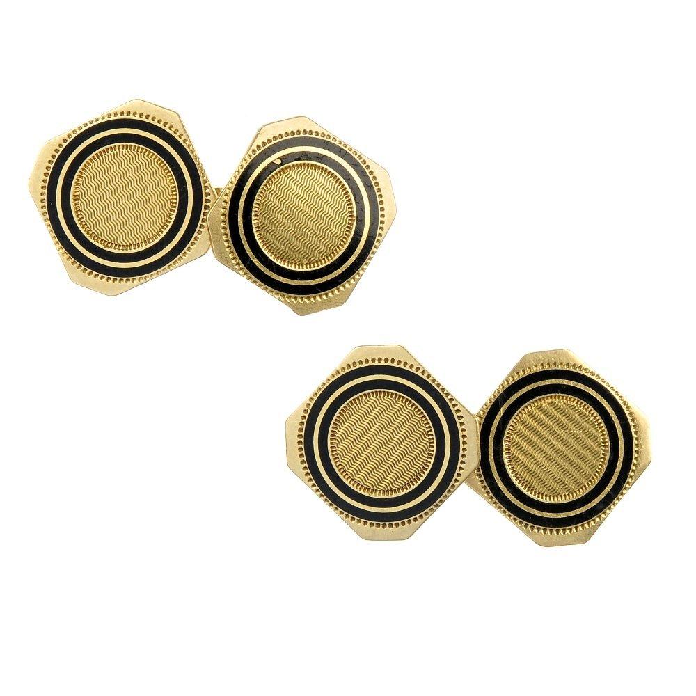 A pair of enamel cufflinks.