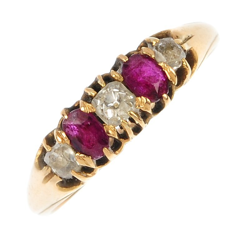 An early 20th century gold diamond and ruby five-stone