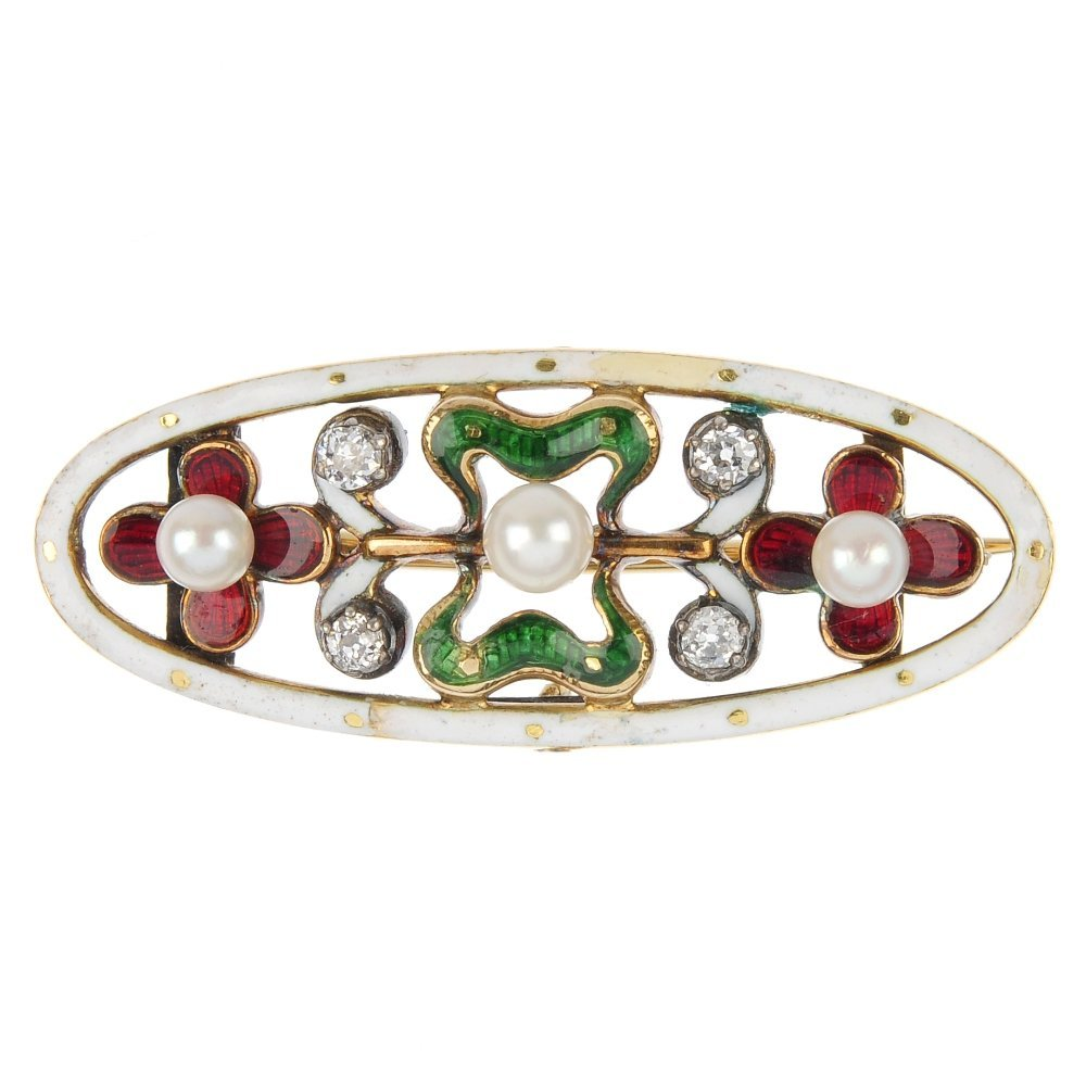 An early 20th century 15ct gold seed pearl, diamond and