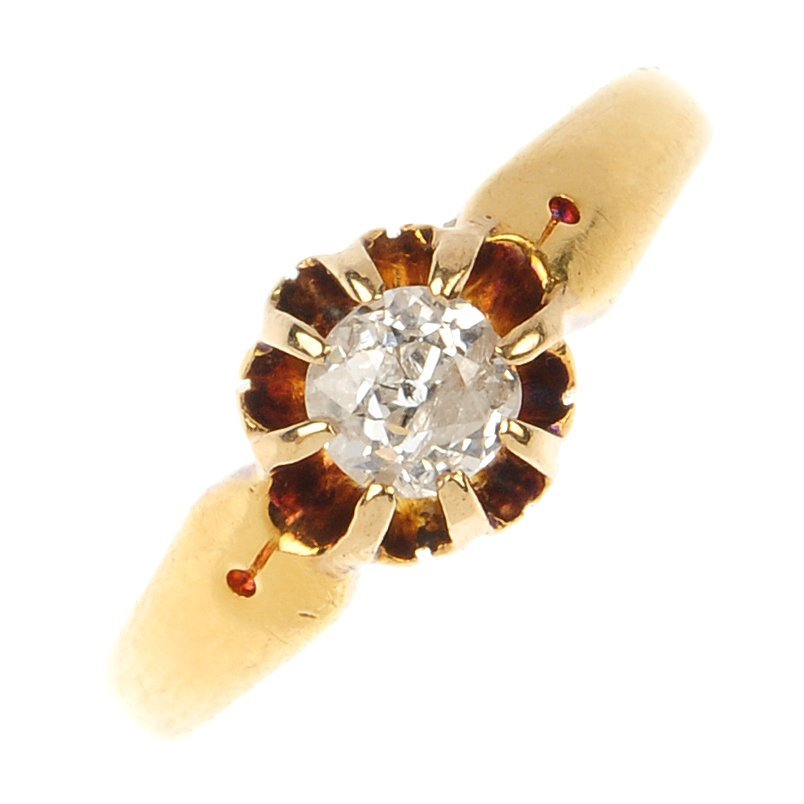 An early 20th century 18ct gold diamond single-stone ri