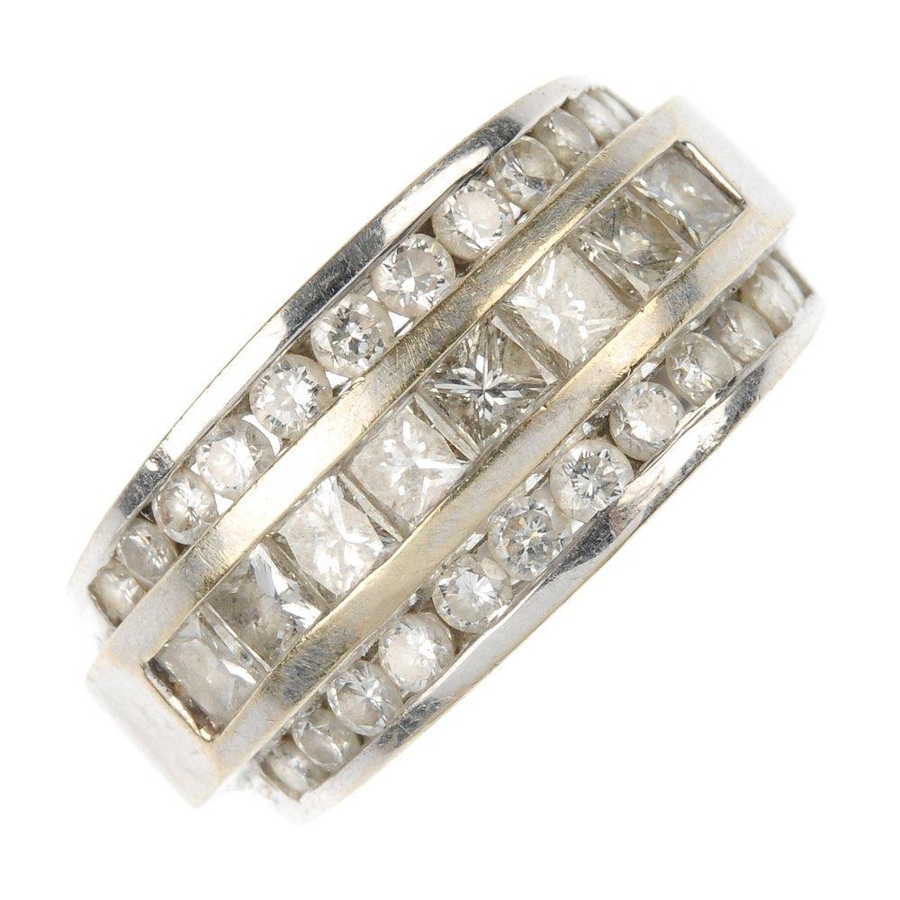 A diamond three-row band ring.