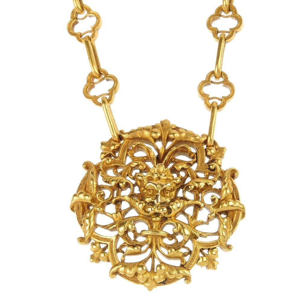 LOUIS WIESE - a late 19th century 18ct gold pendant.