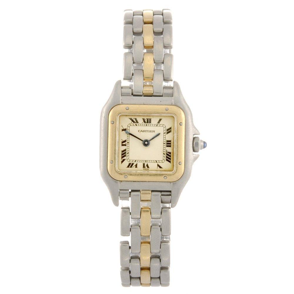 A bi-metal quartz Cartier Panthere bracelet watch.