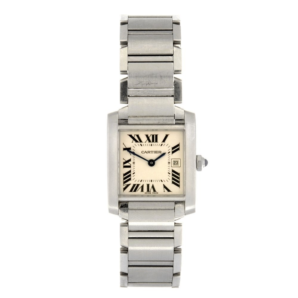 (121082481) A stainless steel quartz Cartier Tank Franc