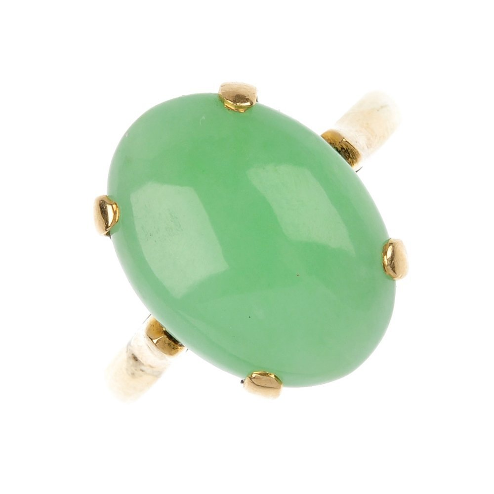 A jade single-stone ring.