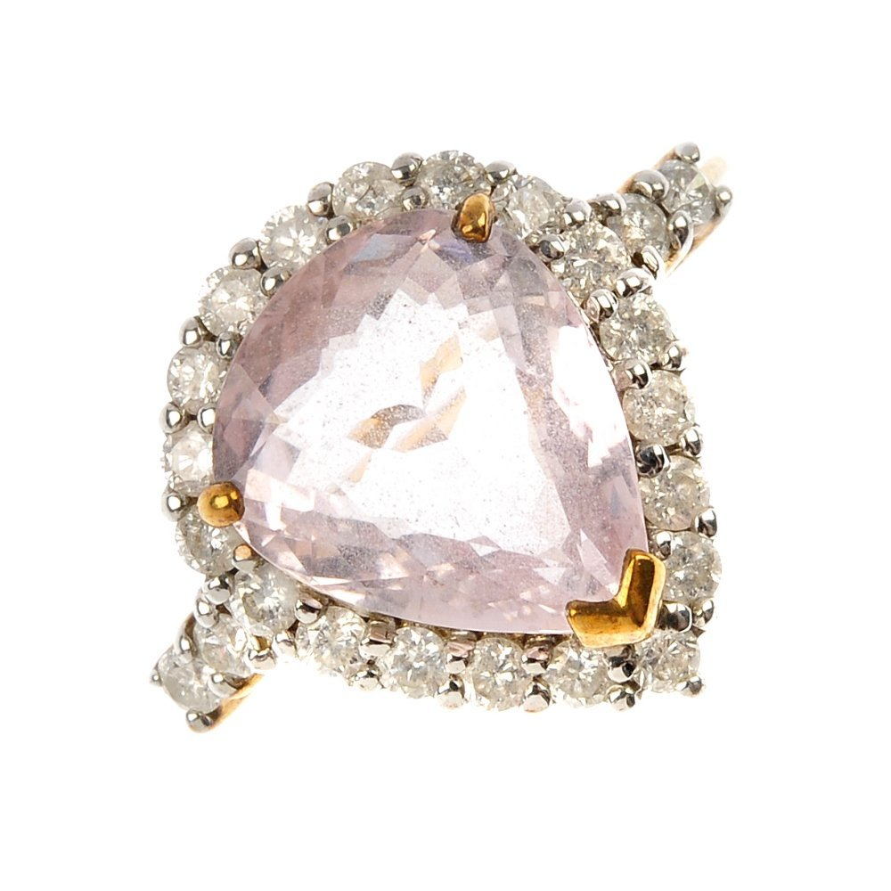 A 9ct gold tourmaline and diamond cluster ring.