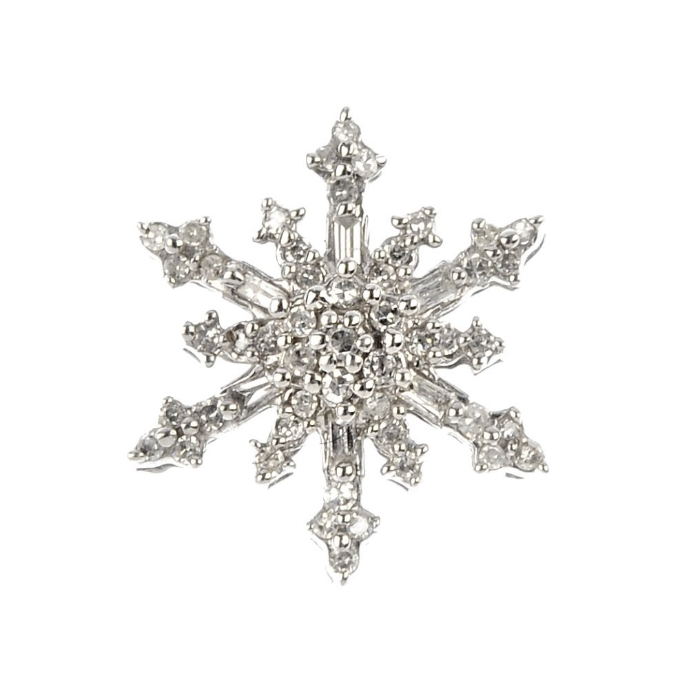 A diamond snowflake pendant.