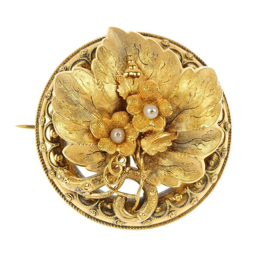 A late 19th century gold floral brooch.