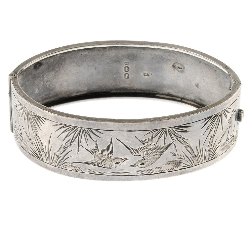 A late Victorian Aesthetic silver bangle.