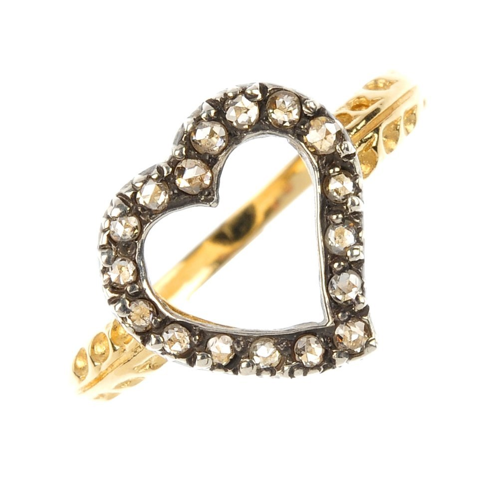 A diamond heart ring.