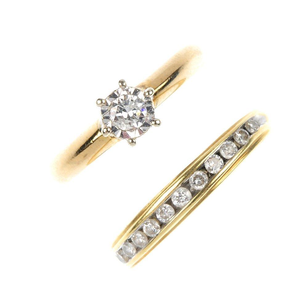 Two gold diamond dress rings.