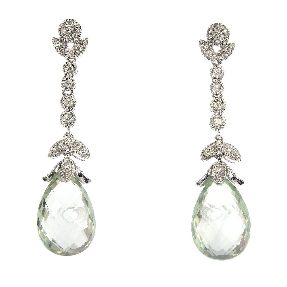 A pair of 9ct gold prasiolite and diamond ear pendants.
