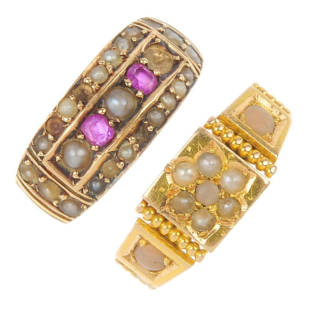 Two late Victorian 15ct gold gem-set rings, circa 1890.
