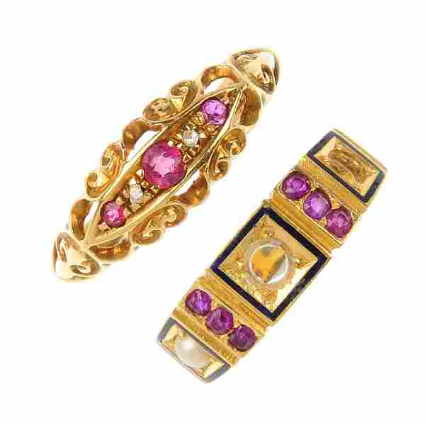 Two late Victorian 18ct gold gem-set rings, circa 1880.