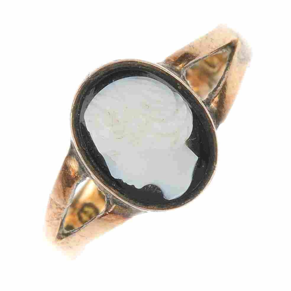 A late Victorian hardstone cameo ring.