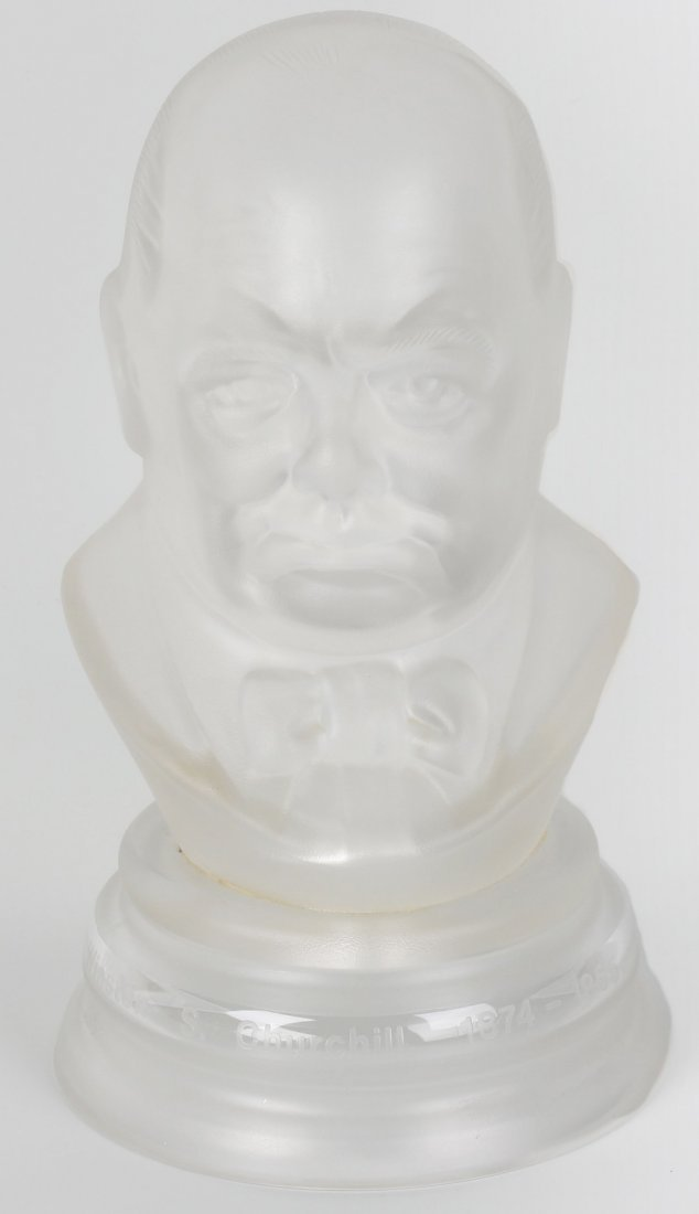 A limited edition commemorative glass bust of Sir Winst