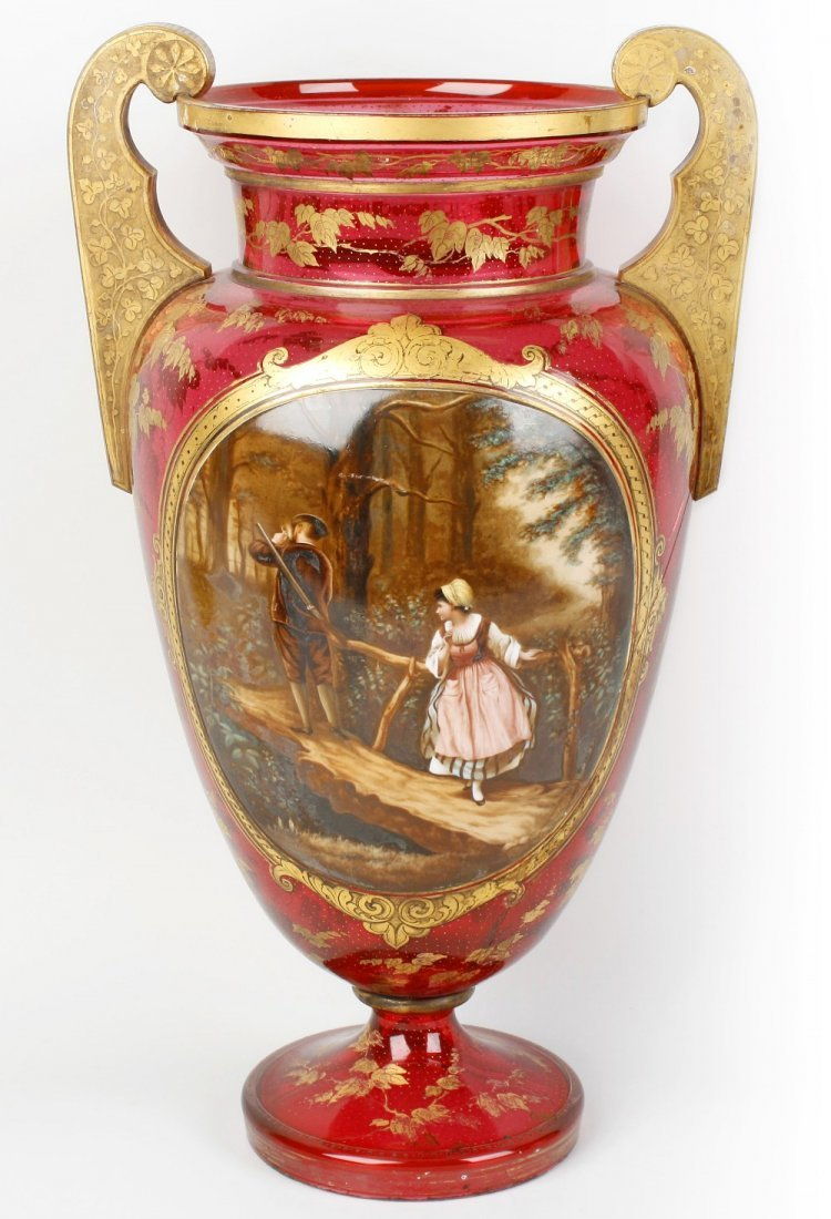 A large rebuilt late 19th century Bohemian overlay glas