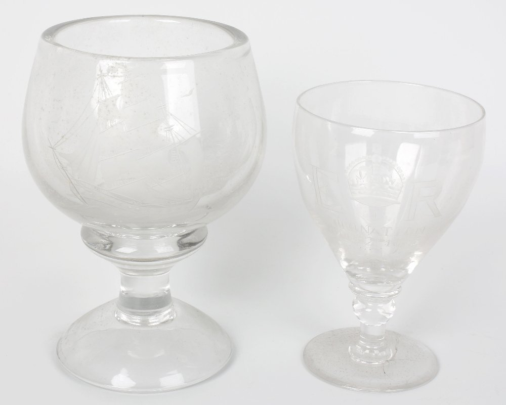 A Whitefriars 1953 commemorative glass and other glass