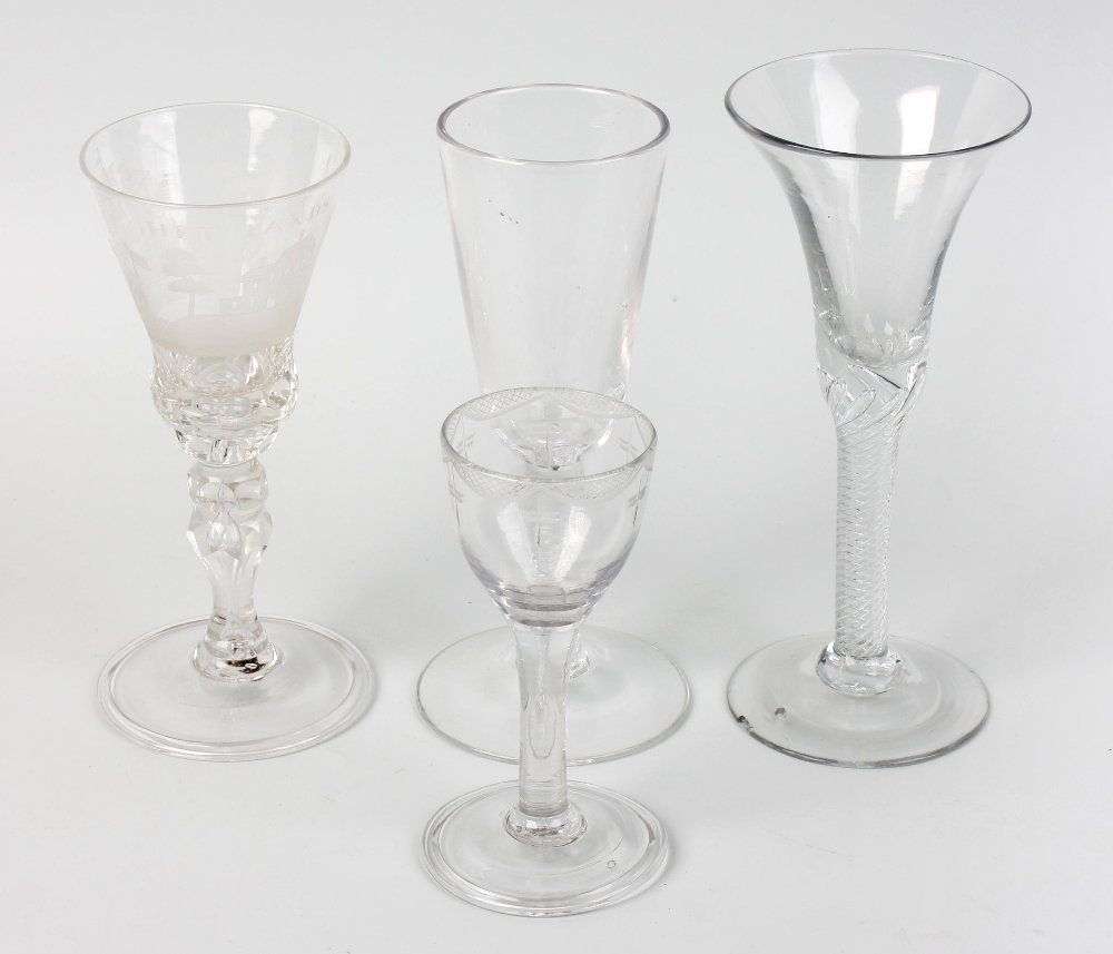 Two ale glasses and a drinking glass