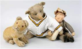 A box containing a selection of teddy bears and a Dean'