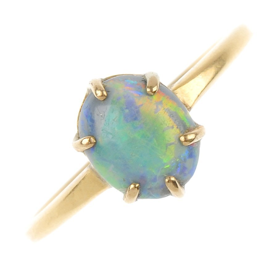 A mid 20th century 18ct gold opal single-stone ring.