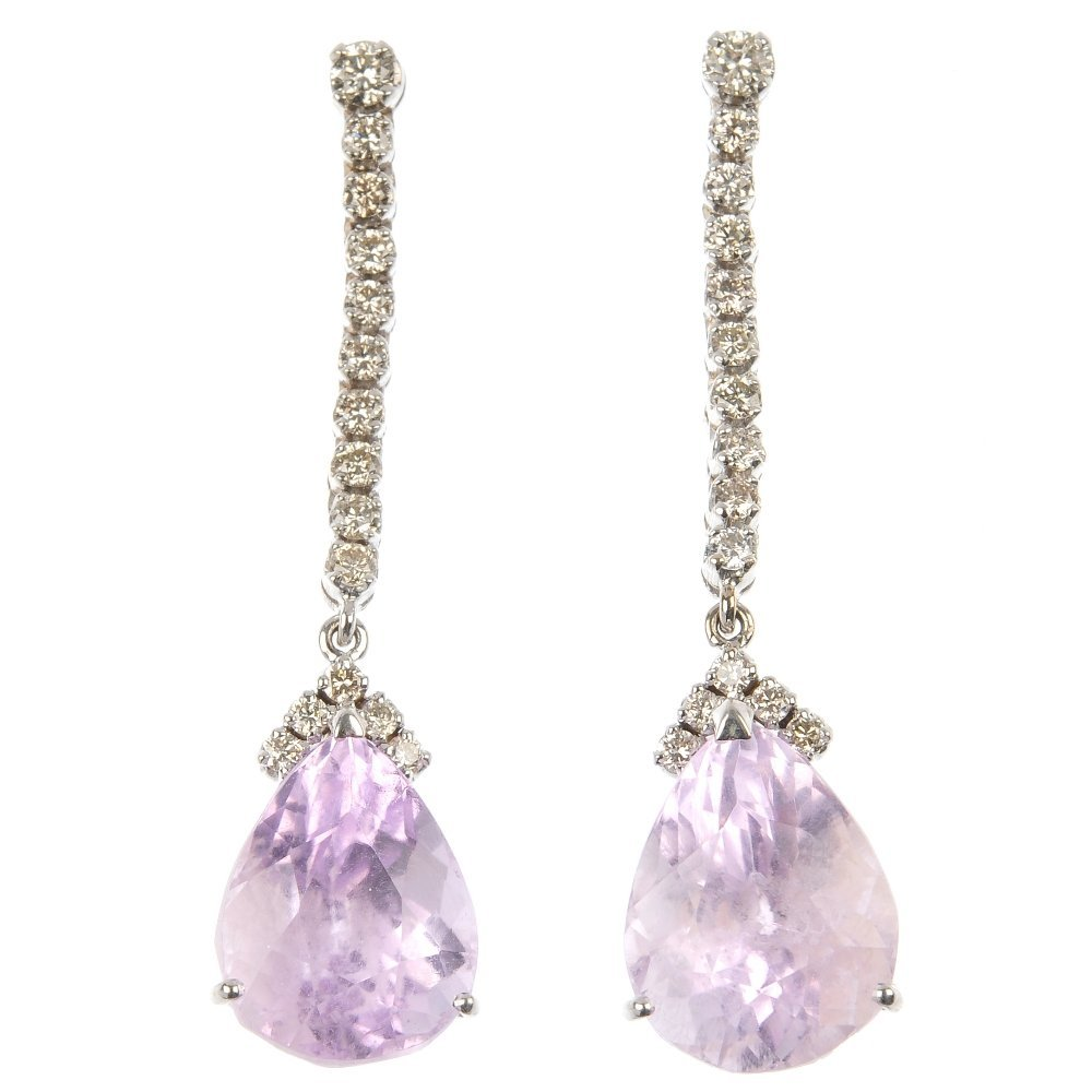 A pair of 18ct gold kunzite and diamond ear pendants.