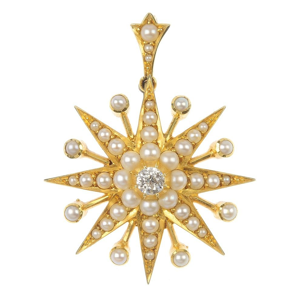 A late 19th century 15ct gold diamond and seed pear sta