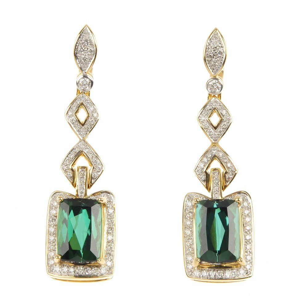 A pair of 18ct gold green tourmaline and diamond ear pe