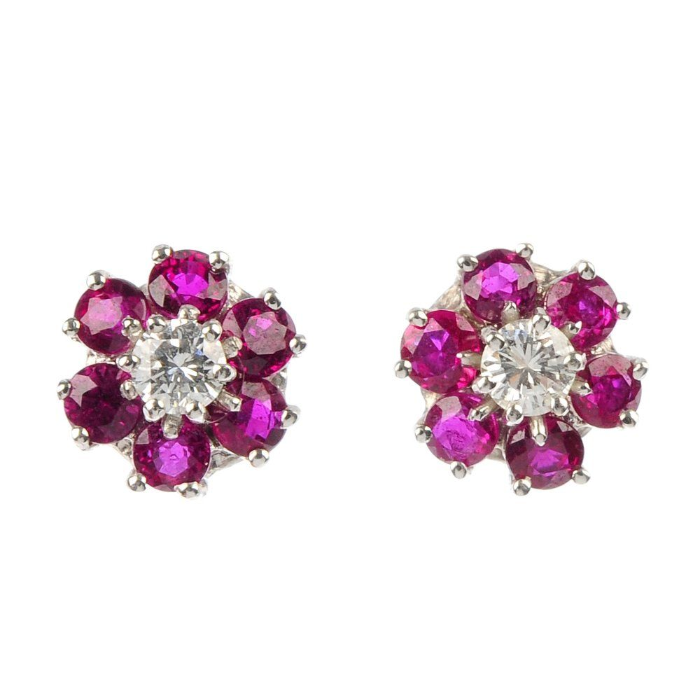 A pair of 18ct gold ruby and diamond floral cluster ear