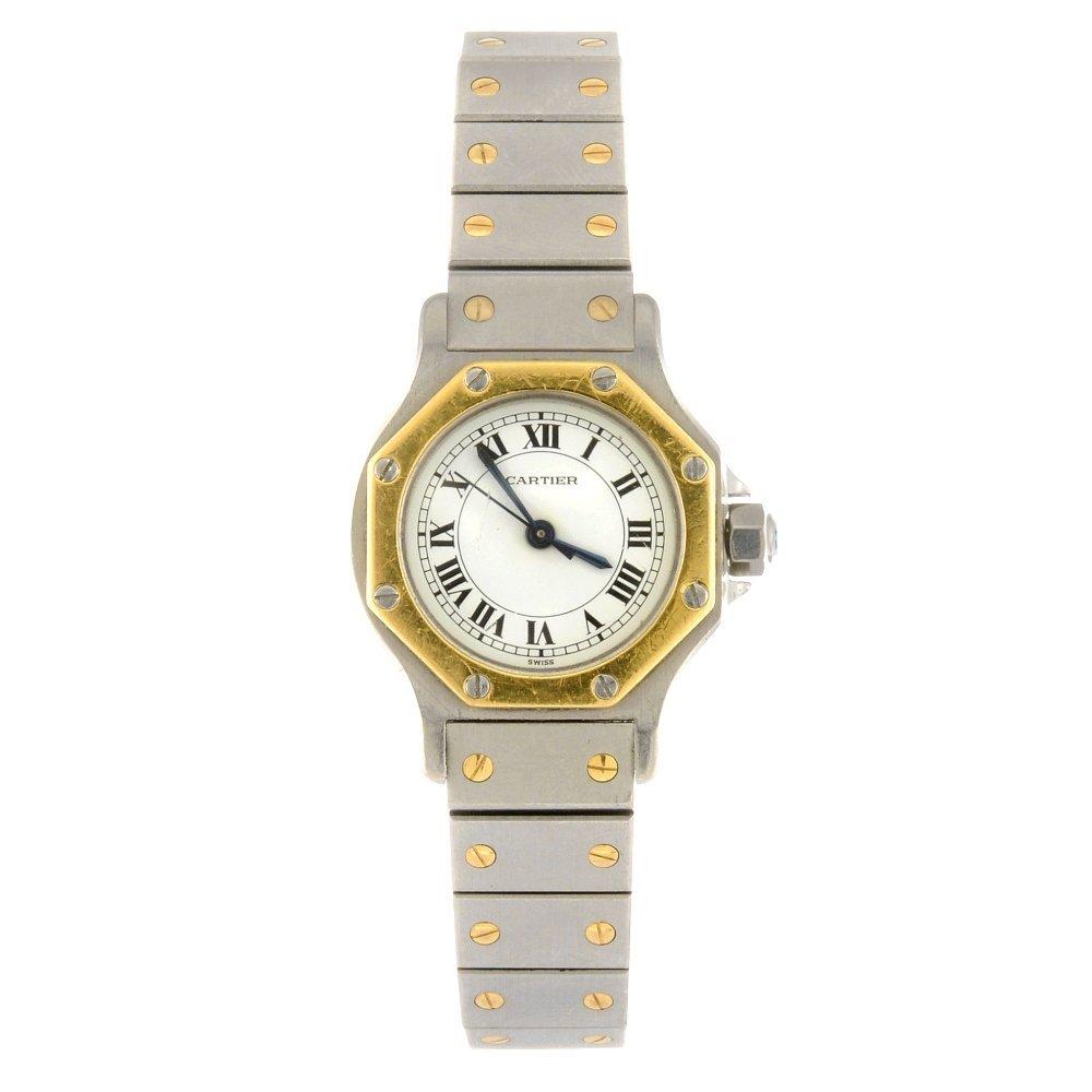 (205153541) A bi-metal automatic Cartier Santos bracele