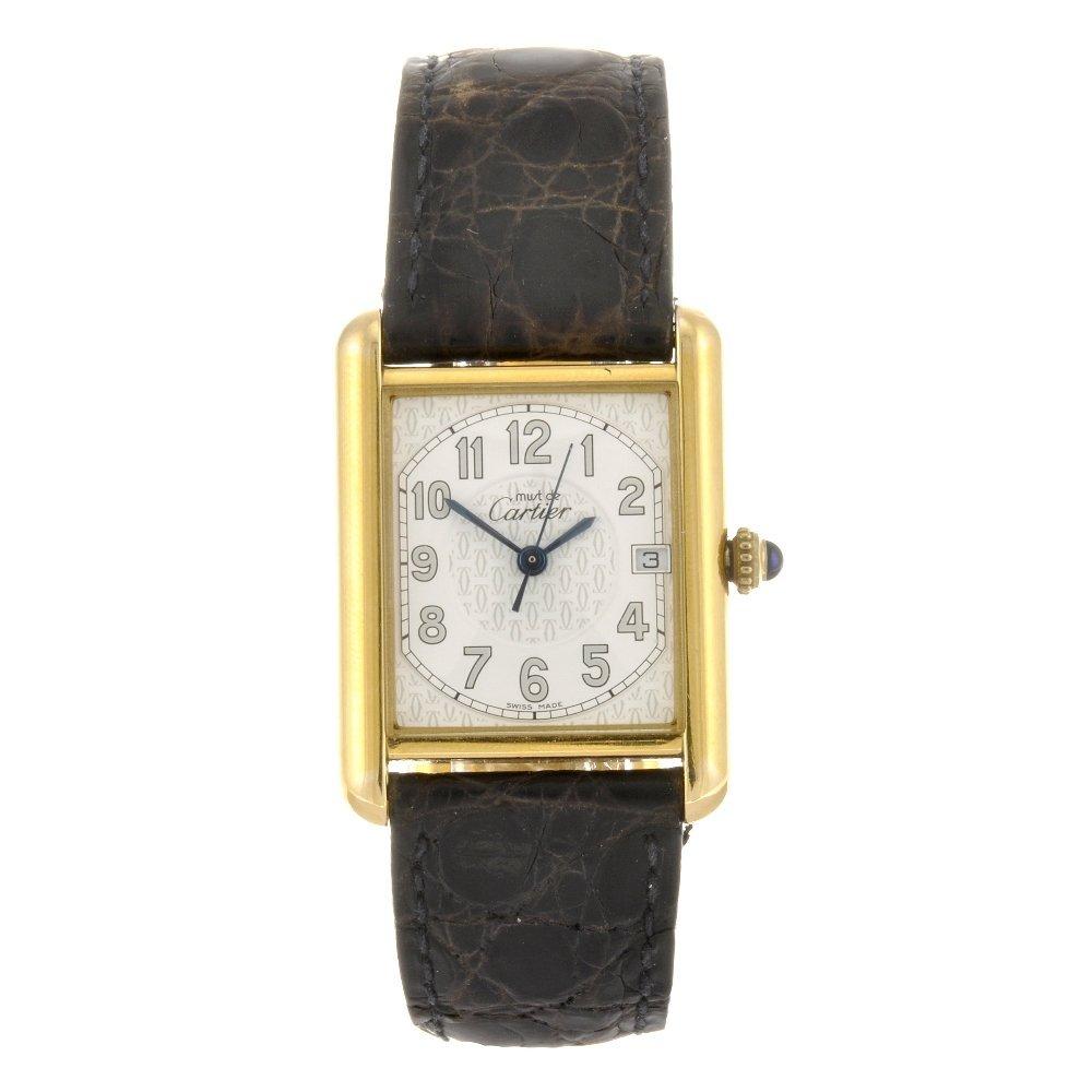 (6711) A gold plated silver quartz Cartier Must de Cart