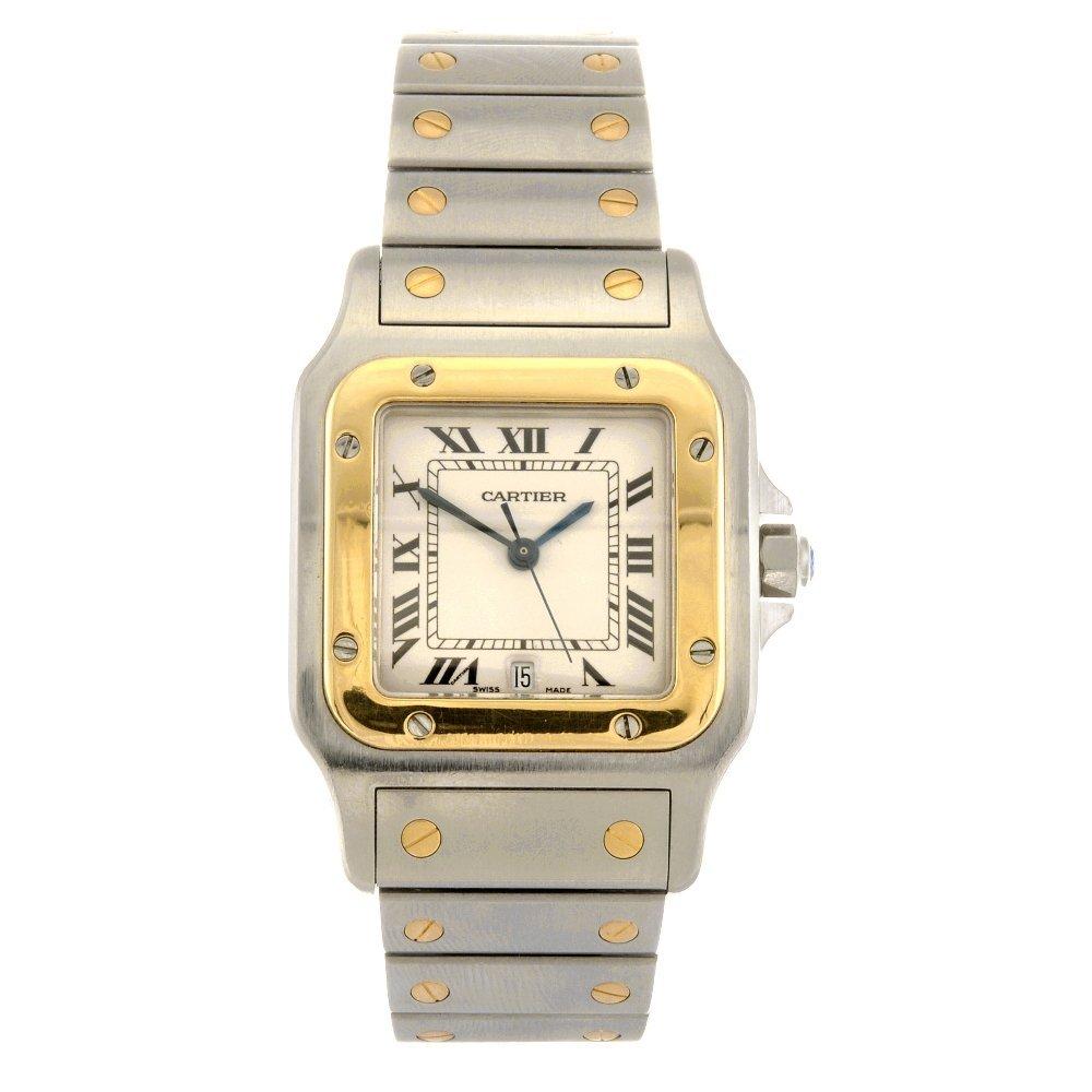 (304294365) A bi-metal quartz Cartier Santos bracelet w