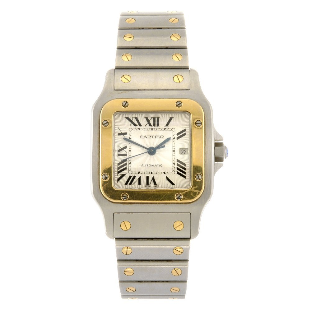 (304294776) A bi-metal quartz Cartier Santos bracelet w