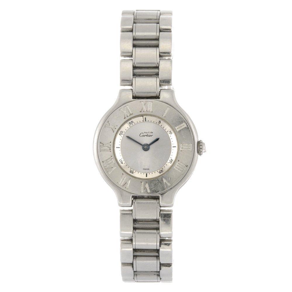 (809032758) A stainless steel quartz Cartier Must De Ca
