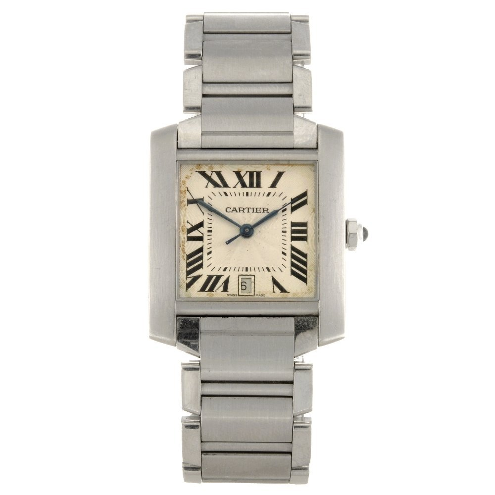 (94703) A stainless steel automatic Cartier Tank Franca