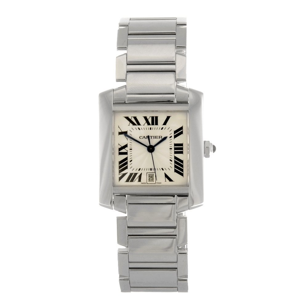 (98794) An 18k white gold automatic Cartier Tank Franca