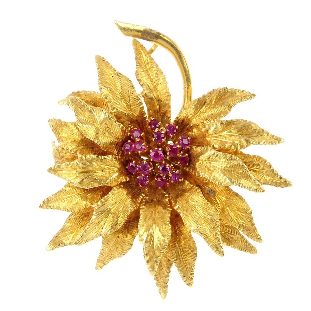 A 1960s 18ct gold ruby floral brooch.