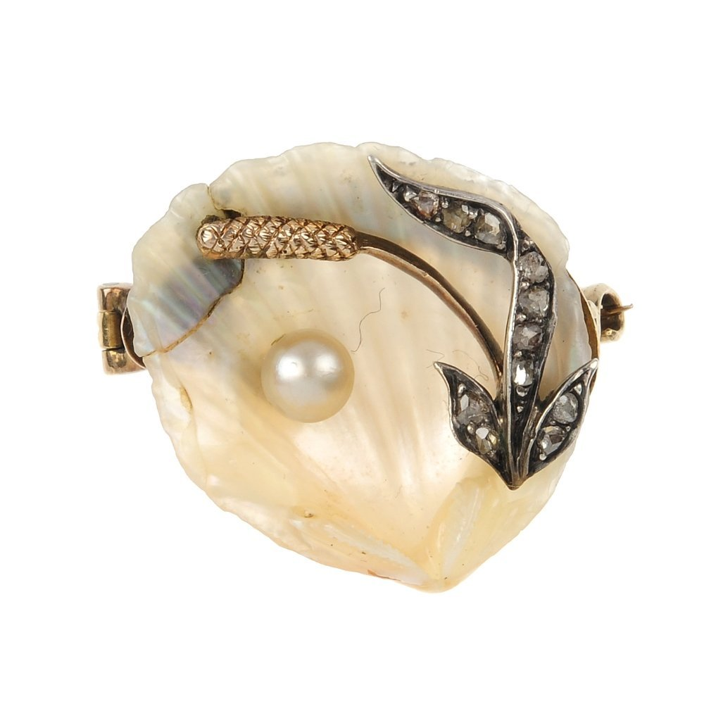 A mid 20th century gold, diamond and cultured pearl she