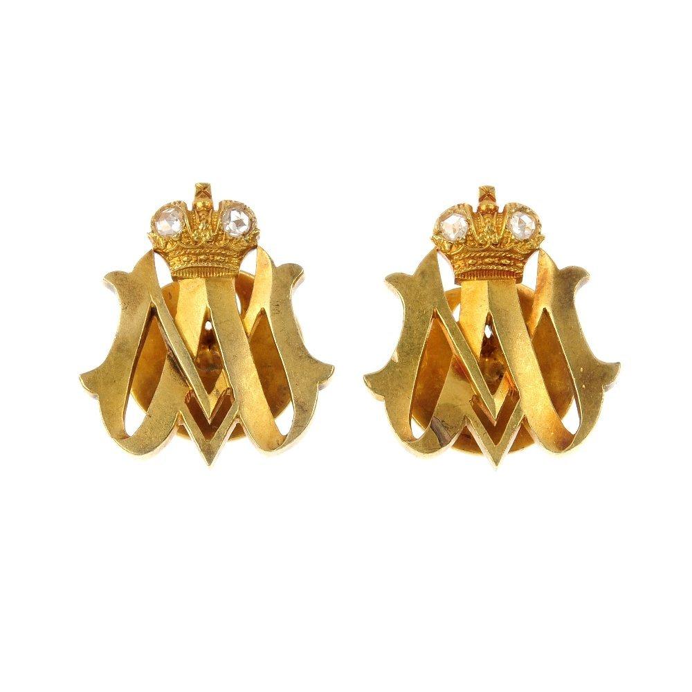 A pair of pre-revolutionary Russian gold diamond lapel