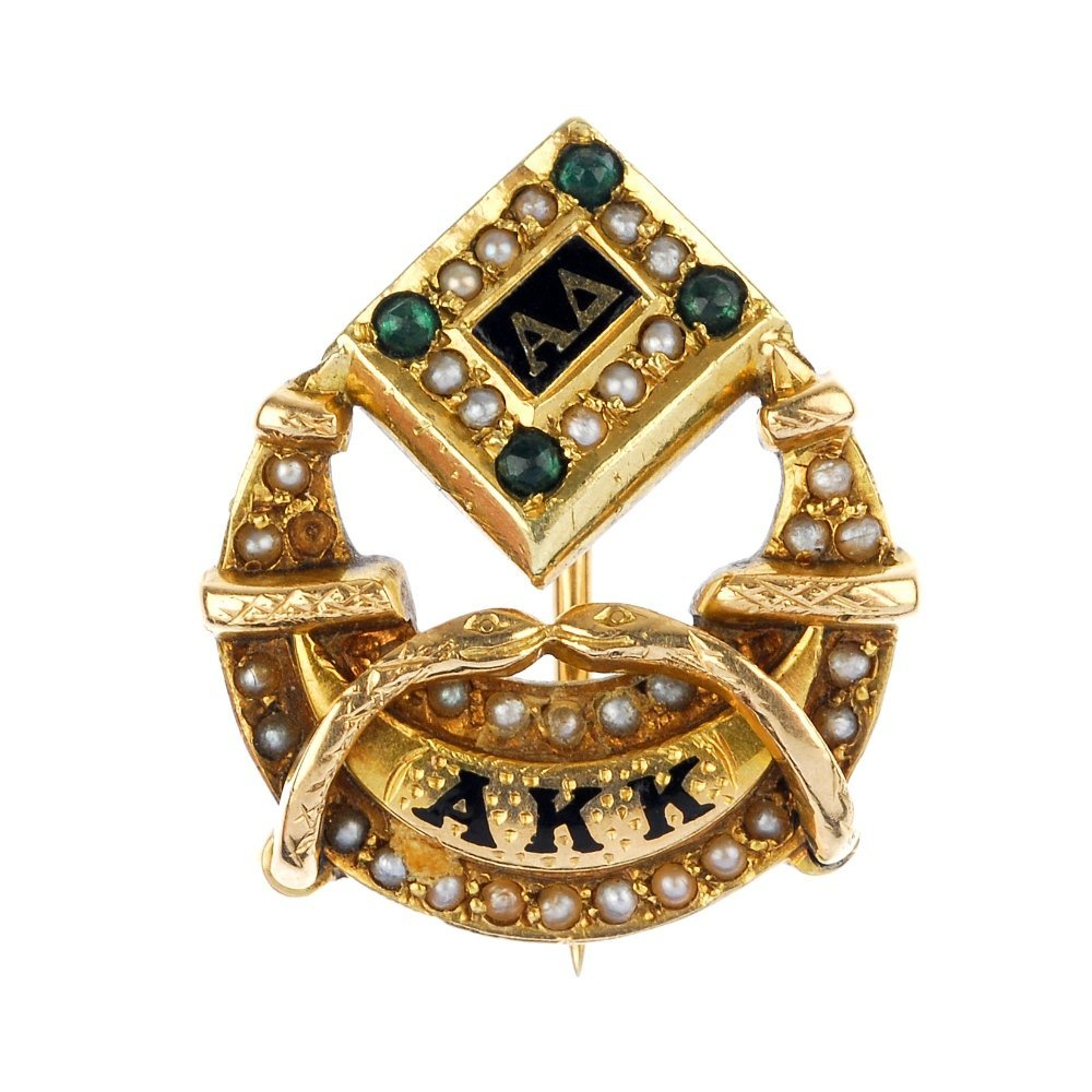 BIRKS - a seed pearl, green-gem and enamel college broo
