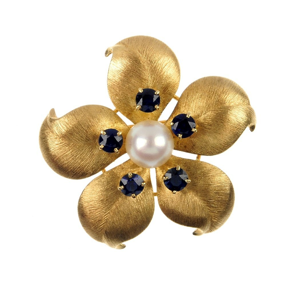 A cultured pearl and sapphire flower brooch.