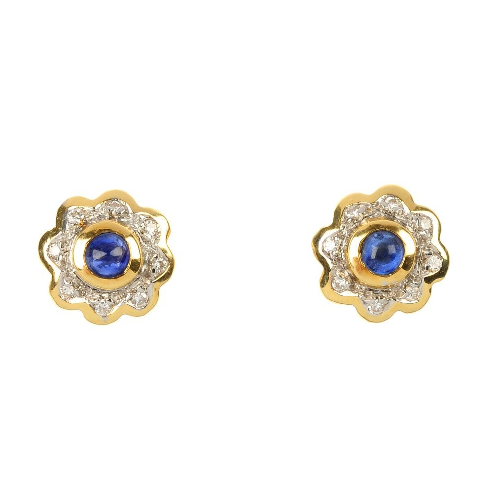 A pair of 18ct gold sapphire and diamond ear studs.