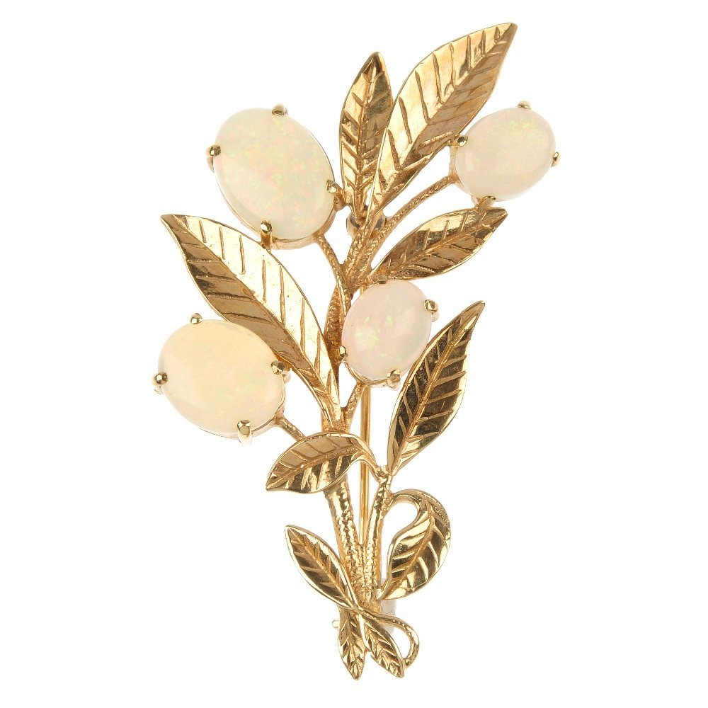 A 9ct gold opal floral spray brooch.