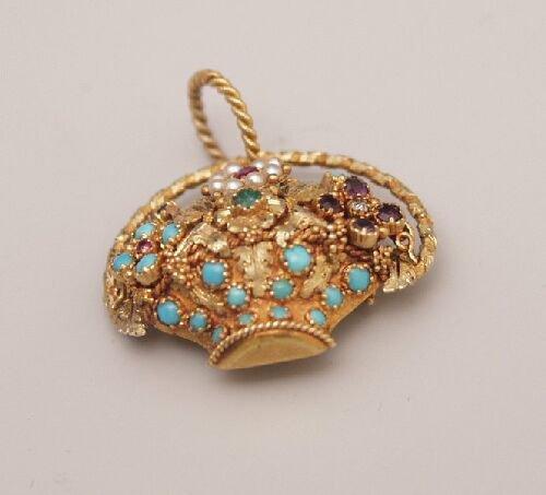 1022: Victorian gold multi gem basket design