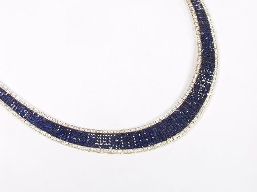 1153: French cut fine quality sapphire and di