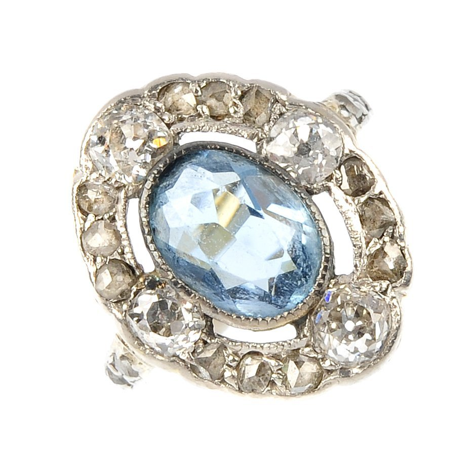 An early 20th century 15ct gold aquamarine and diamond