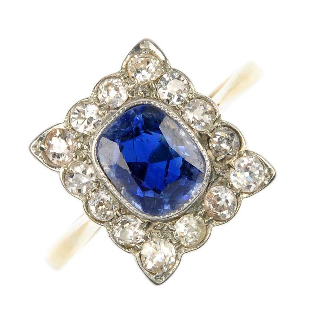 A mid 20th century platinum and 15ct gold sapphire and