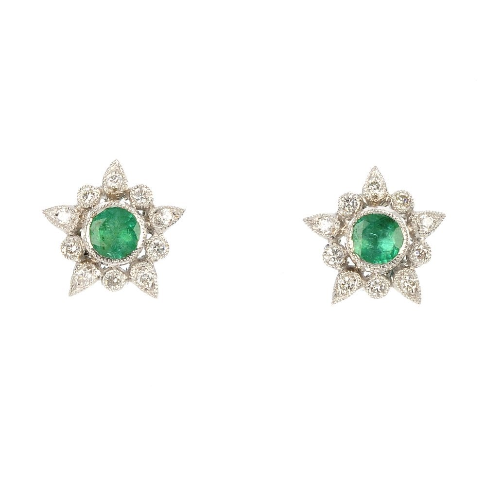 A pair of 18ct gold emerald and diamond cluster ear stu