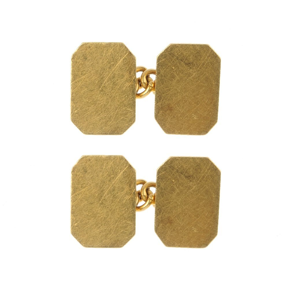 A pair of 18ct gold cufflinks.