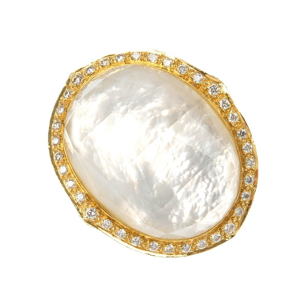 STEPHEN WEBSTER - an 18ct gold mother-of-pearl, rock cr